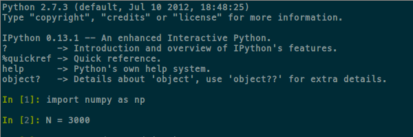 IPython shell in a terminal